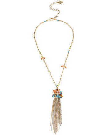 WEAVE AND SEW MULTI WOVEN FRINGE PENDANT NECKLACE
