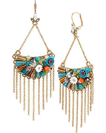 WEAVE AND SEW WOVEN HALF MOON CHANDELIER EARRINGS
