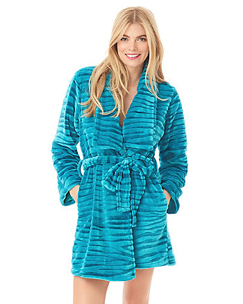 WILD THING ZEBRA PLUSH ROBE