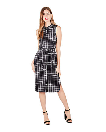 WINDOWPANE SLEEVELESS SHIRTDRESS