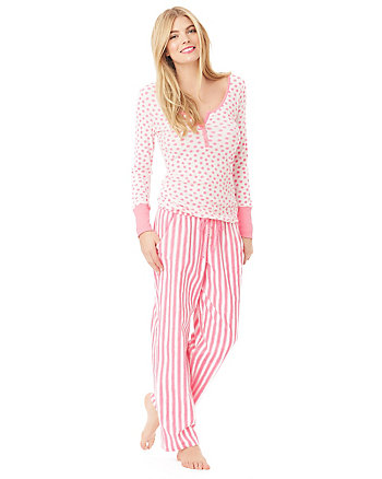WONDERLAND RIB AND FLANNEL PJ GIFT SET