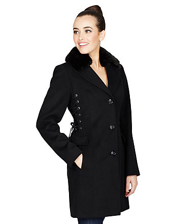 WRAPPED IN RIBBON DRAPE MELTON COAT