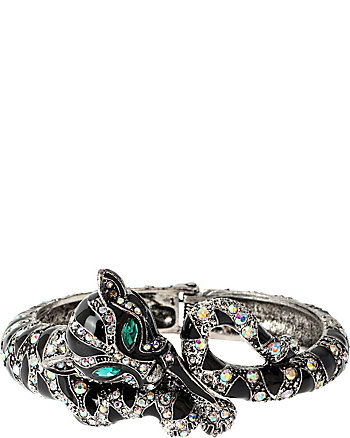 WRAPPED UP SILVER LEOPARD HINGE BANGLE