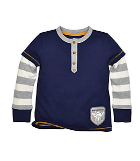 Toddler Stripe Henley 2fer Tee