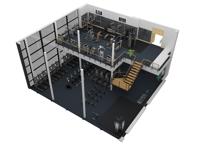 Sample fitness facility 10 cybex for Gym design layout