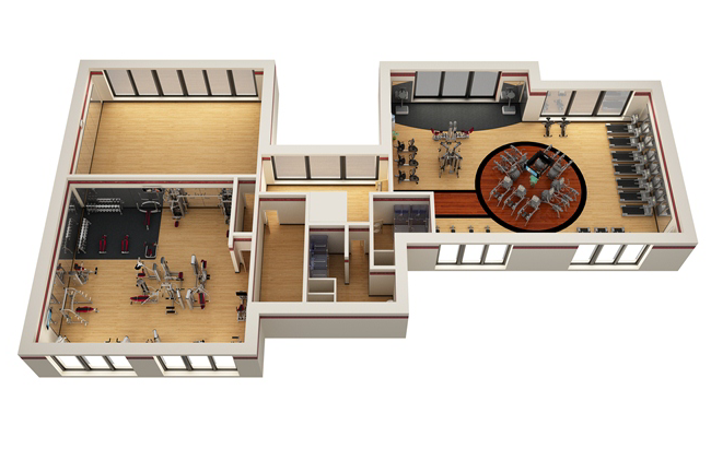 Commercial fitness facility design installation showcase for 3000 sq ft gym layout
