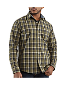 Men's Washed Bellevue Plaid Slim Long-Sleeve Shirt