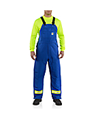 Men's Flame-Resistant Duck Bib Overall with Reflective Striping/Quilt-Lined
