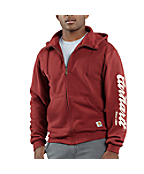Men�s Graphic Script Sleeve Zip-Front Brushed Sweatshirt