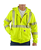 Men's Flame-Resistant Heavyweight High-Visibility Class 3 Hooded Zip-Front Sweatshirt
