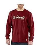 Men's Textured Knit Script Graphic Crewneck