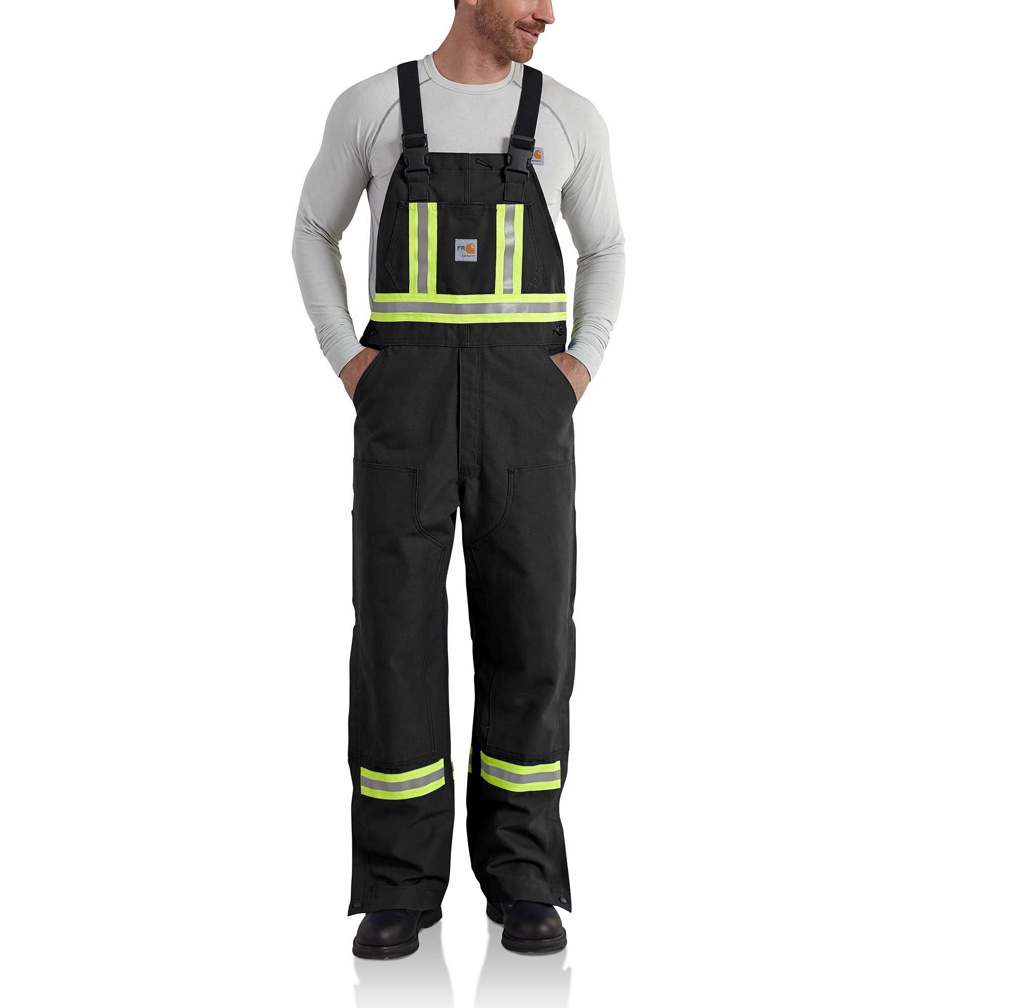 Carhartt Flame-Resistant Striped Duck Bib Overall/Unlined