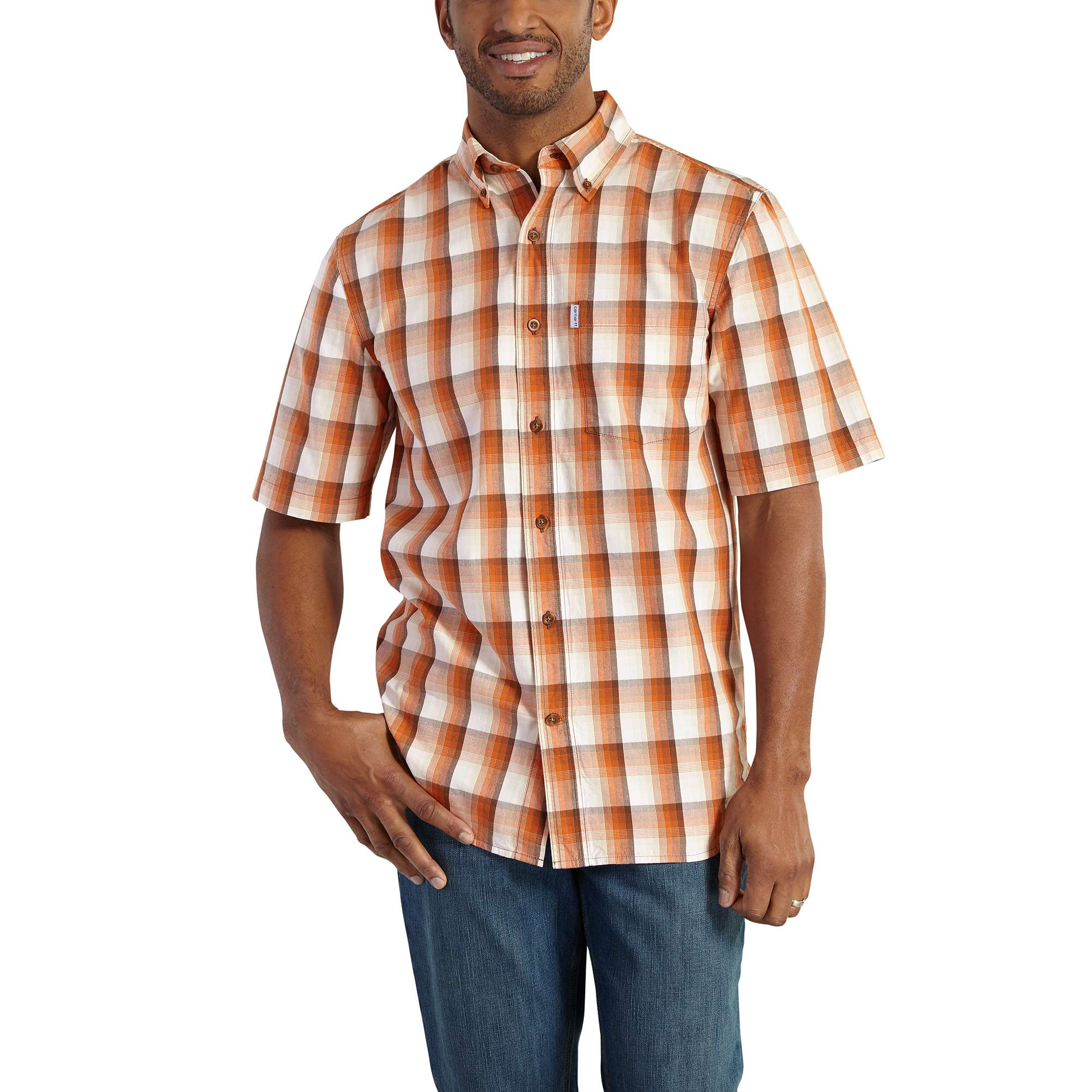 Essential Plaid Button-Down Short-Sleeve Shirt