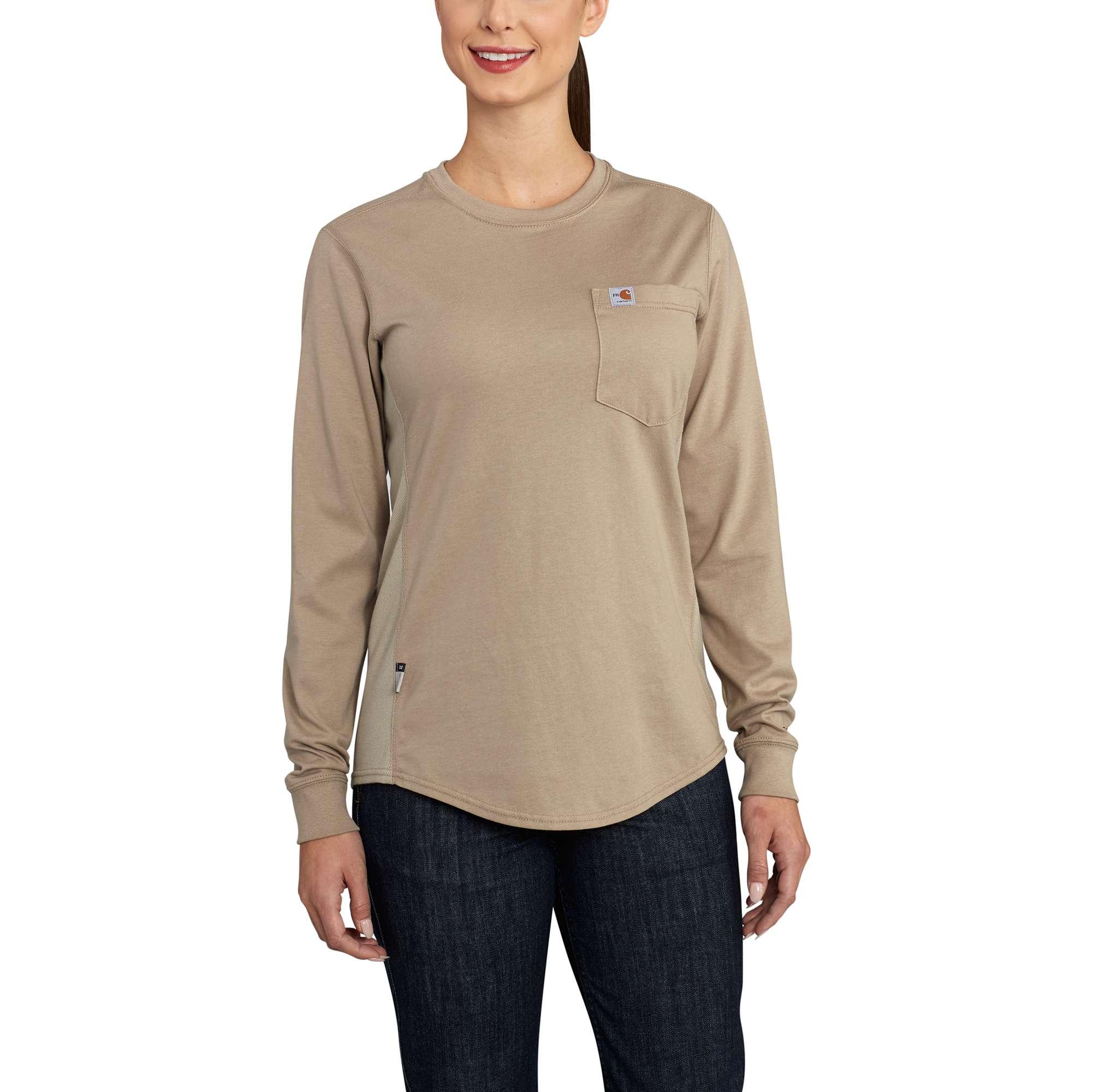 Carhartt Women's FR Force Cotton Long-Sleeve Crewneck T-Shirt