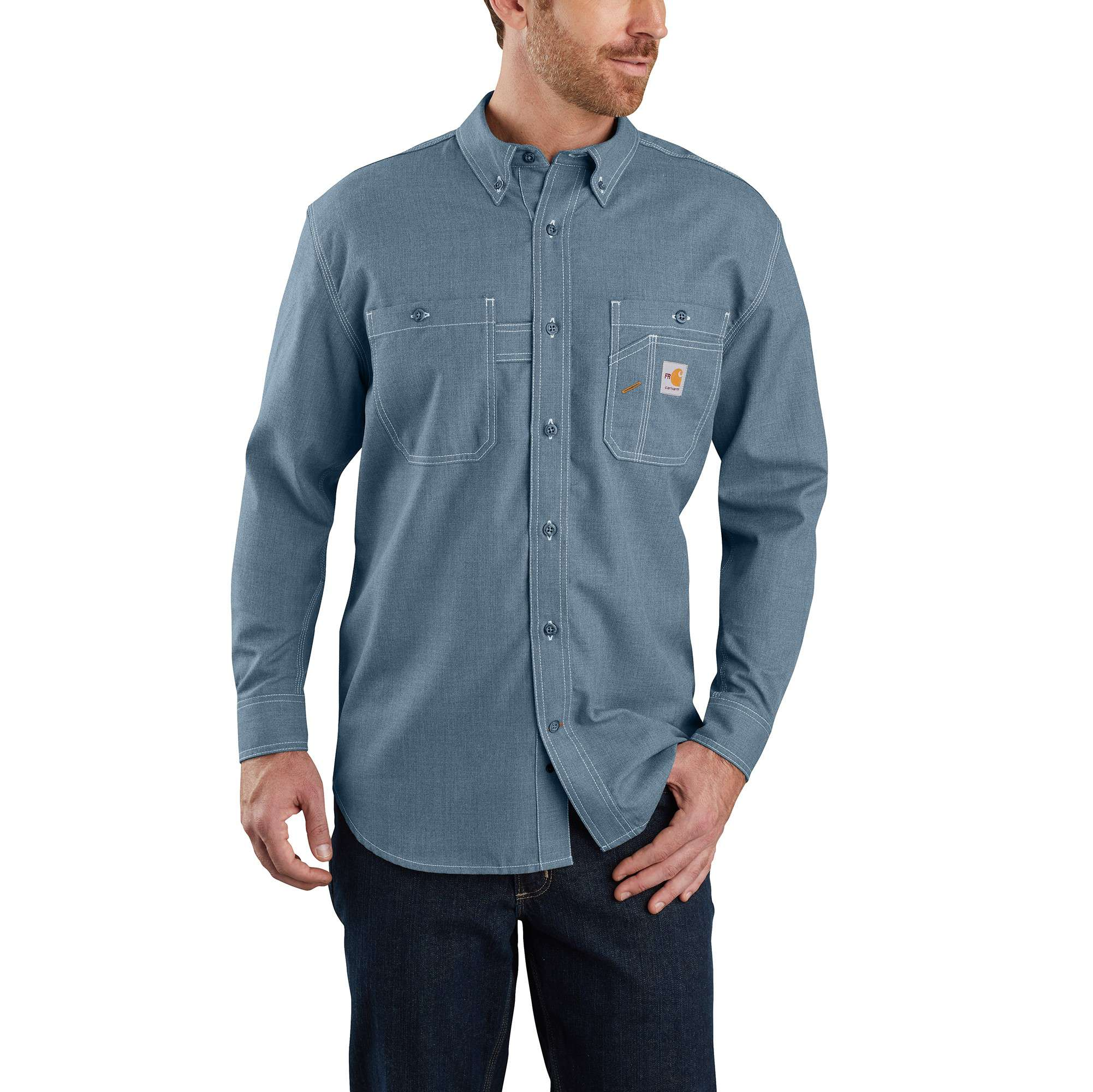 Carhartt Flame-Resistant Carhartt Force Original Fit Lightweight Long-Sleeve Button Front Shirt