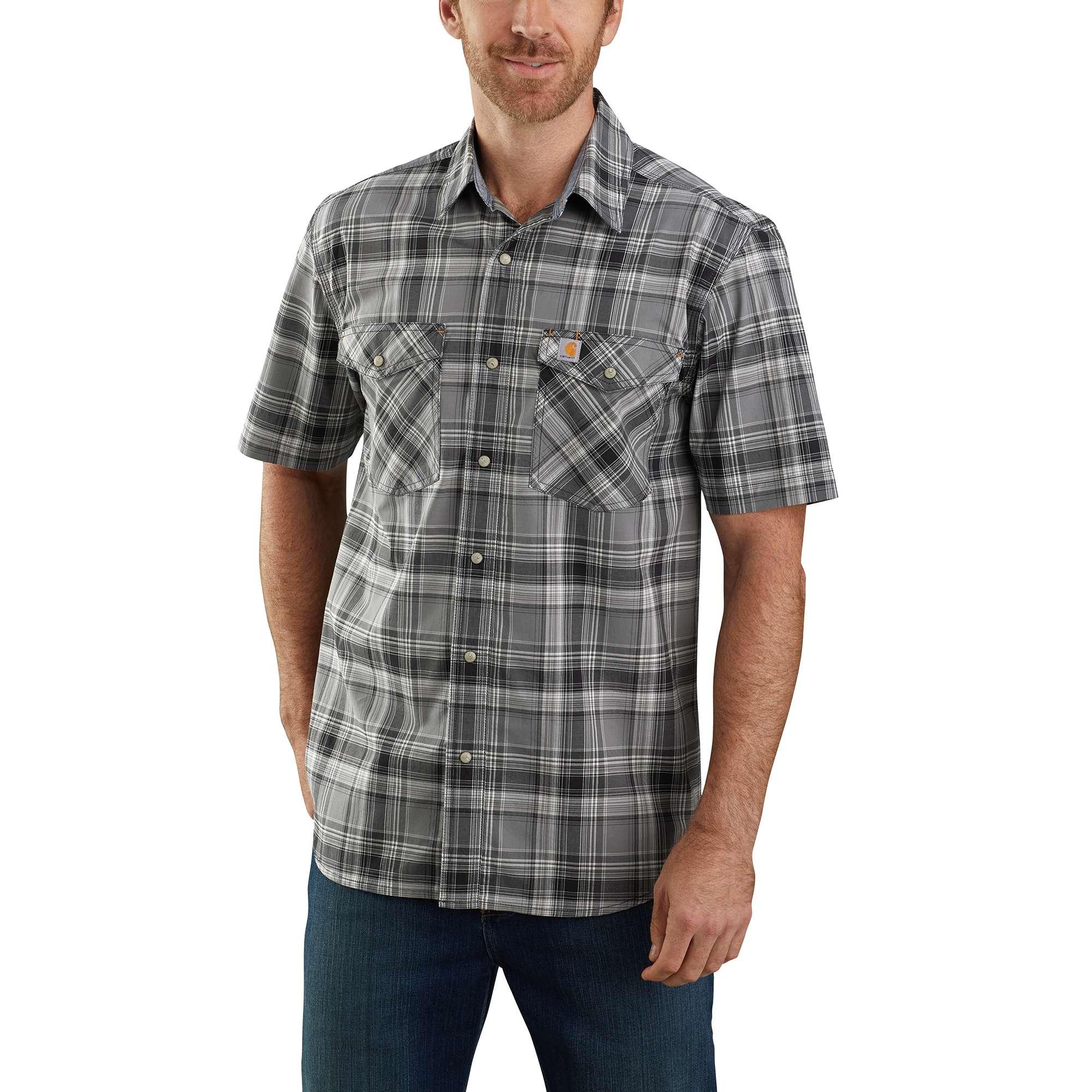 Carhartt Rugged Flex Relaxed Fit Lightweight Short-Sleeve Snap-Front Plaid Shirt