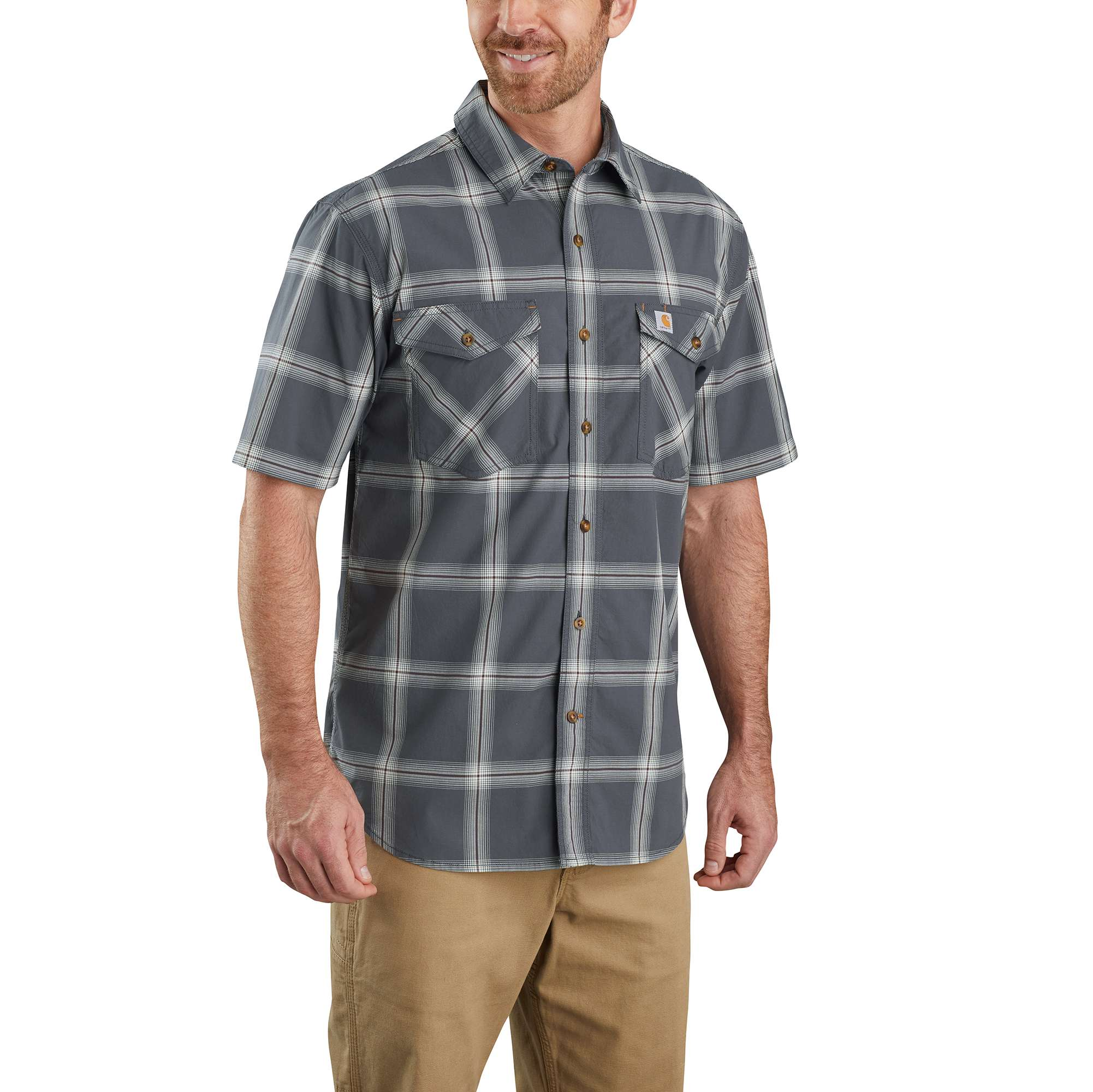 Carhartt Rugged Flex Relaxed Fit Lightweight Short-Sleeve Button-Front Plaid Shirt