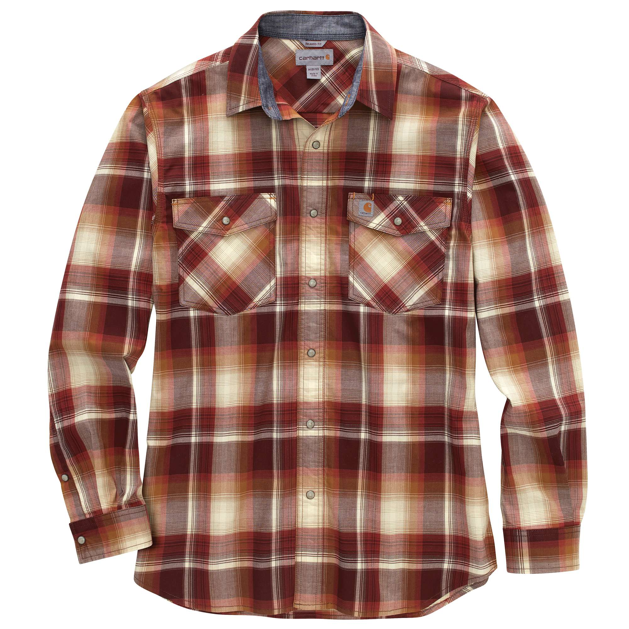 Carhartt Rugged Flex Relaxed Fit Lightweight Long-Sleeve Snap-Front Plaid Shirt