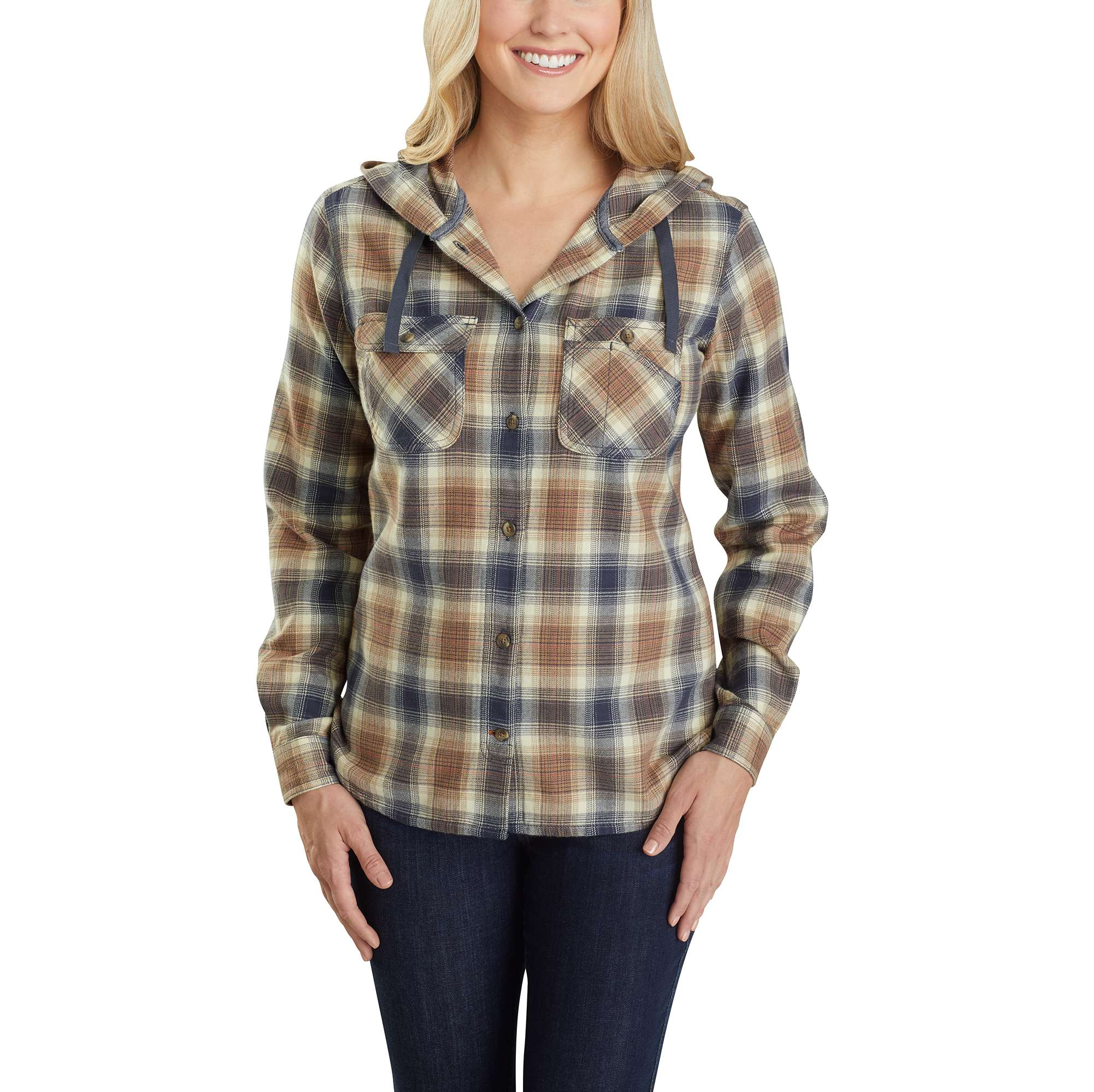 Carhartt Relaxed Fit Flannel Hooded Plaid Shirt