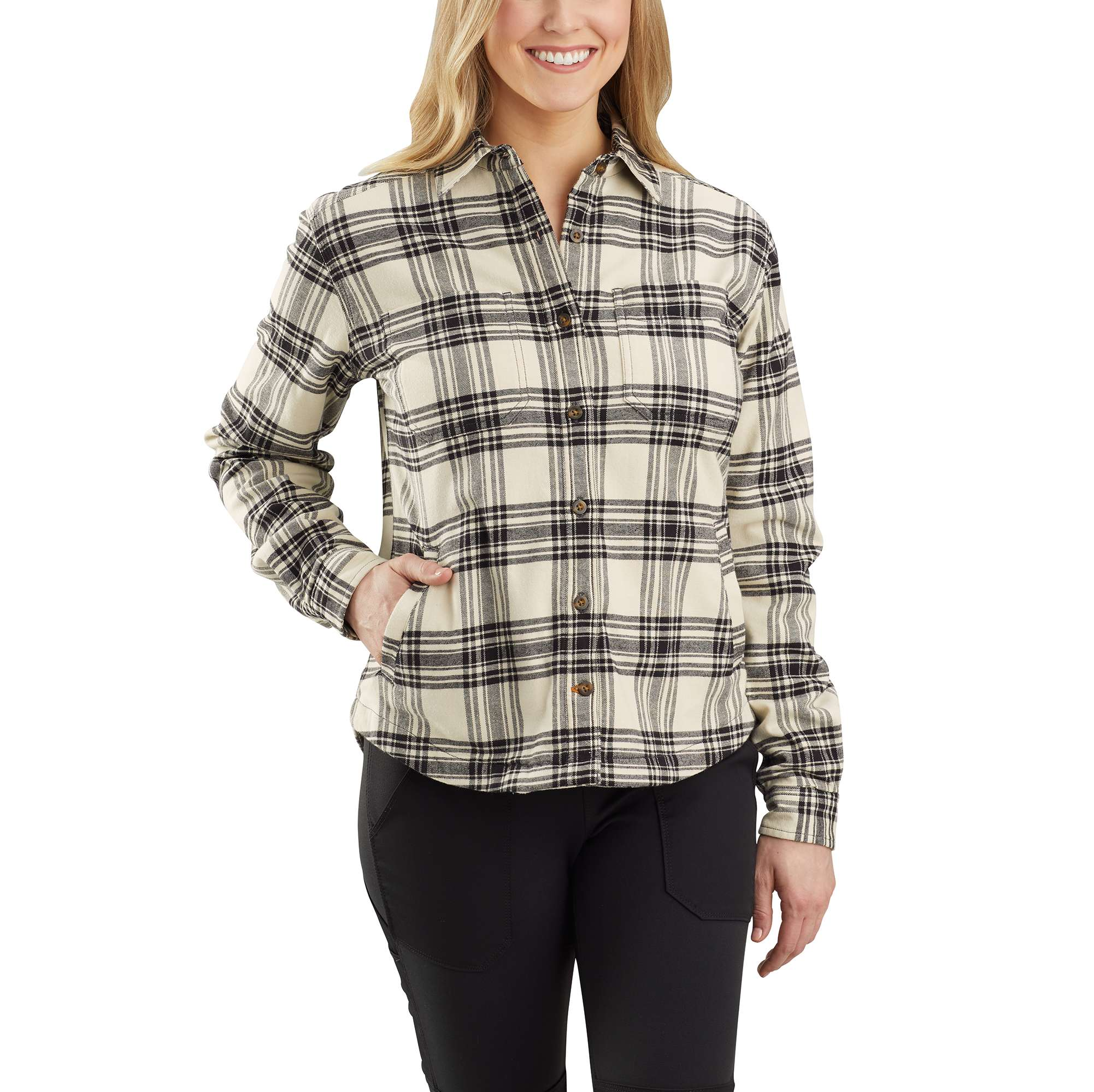 Carhartt Rugged Flex Relaxed Fit Flannel Fleece Lined Plaid Shirt