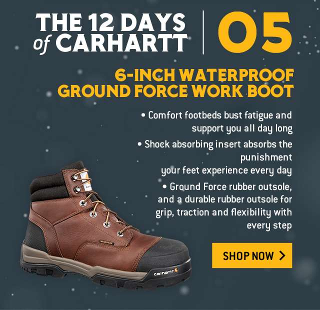 6-inch waterproof ground force work boot, comfort footbeds bust fatigue and support you all day long