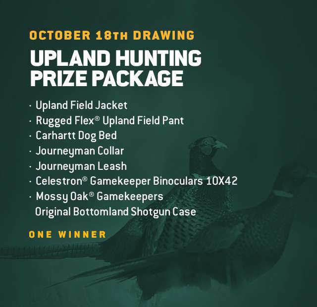 October 18th Drawing, Upland Hunting Prize Package