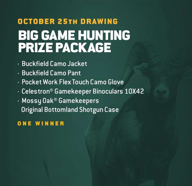 October 25th Drawing, Big Game Hunting Prize Package