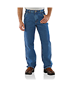 Men's Washed-Denim Work Dungaree/Flannel-Lined