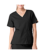 Women's Mock Wrap Two-Pocket Scrub Top