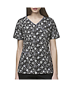 Women's Y-Neck Print Scrub Top