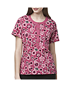 Women's Round-Neck Button-Front Print Scrub Top