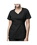 Women's 3-Pocket Mock-Wrap Scrub Top