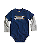 Infant/Toddler Boy�s Little Helper Graphic Layered-Sleeve Bodyshirt