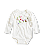 Infant/Toddler Girl�s Apple Farm Long-Sleeve Lapped Shoulder Bodyshirt