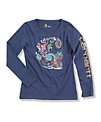 """Girl's Painted """"C"""" Long-Sleeve T-Shirt"""