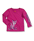 Infant/Toddler Girls' 'Cute Fox' Long-Sleeve T-Shirt