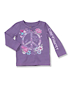 Infant Toddler Girl's ?Peace and Horses? Long-Sleeve T-Shirt