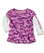 Infant/Toddler Girls' Camo Layered Sleeve Swing Top