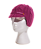 Girls Cable Knit Ear Flap Hat With Visor