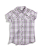 Girls Short-Sleeve Cuffed Woven Plaid Shirt