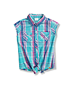 Girls' Tie Front Woven Plaid Shirt