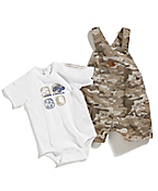 Infant Boys Washed Bib Ripstop Shortall Set