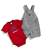Infant Boys Washed Bib Denim Shortall Set