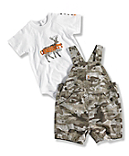 INFANT BOY'S WASHED BIB CAMO SHORTALL SET