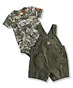 INFANT BOY'S WASHED BIB RIPSTOP SHORTALL SET