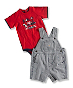 INFANT BOY'S RAILROAD STRIPE WASHED BIB SHORTALL SET