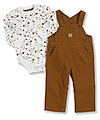 Infant Boy's Washed Canvas Bib Overalls Set