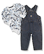 Infant Boy's Washed Denim Bib Overalls Set