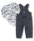 Infant Boy's Washed Denim Bib Overalls Set