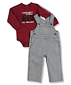 Infant Boy's Washed Bib Overalls Set